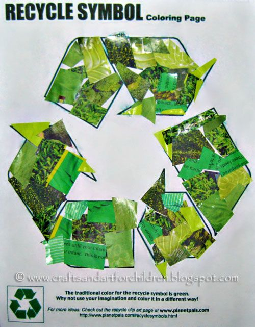 Recycle Symbol Collage - Earth Day Craft ..... Green is the new black!!! #recycledcrafts