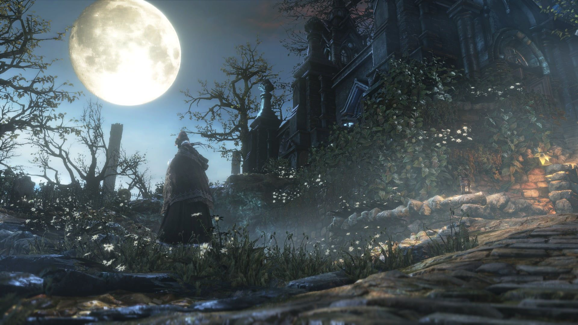 White Moon Digital Wallpaper Bloodborne Video Games Hunter S