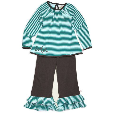 Girls Teal & Charcoal Stripe Cotton Pant Set – Lolly Wolly Doodle