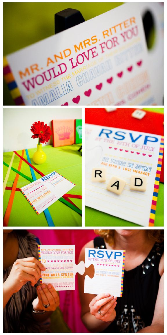 neon puzzle wedding invites and rsvp cards notable inspiration a