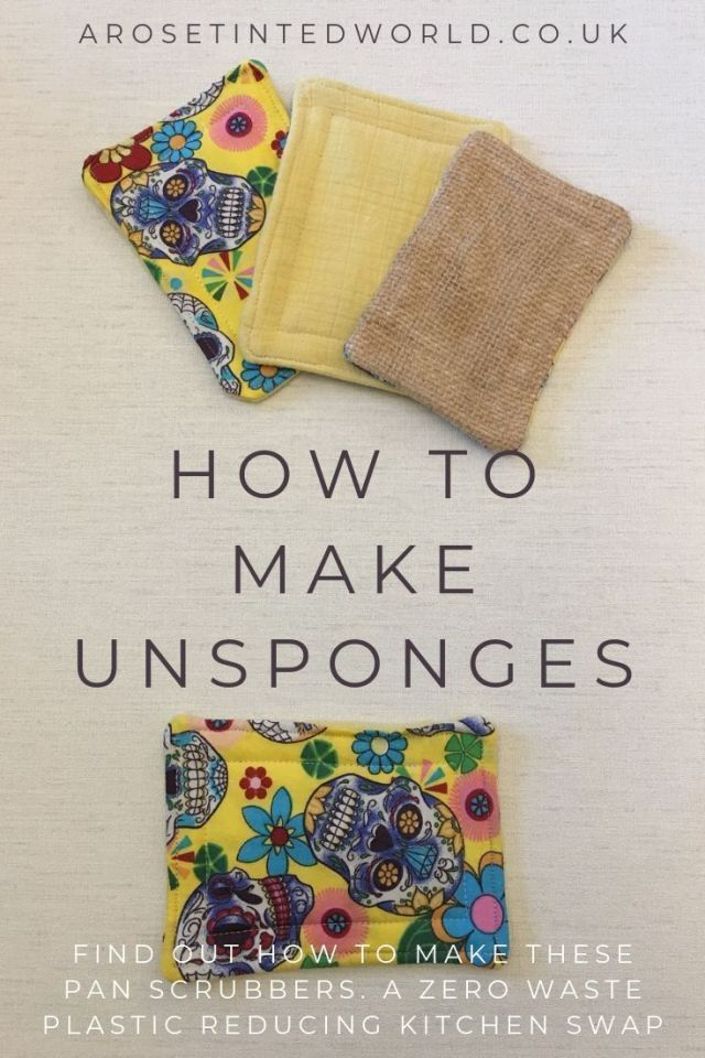 How To Make Unsponges - Make your own kitchen sponges - an alternative to plastic bacteria breeding sponges & scrubbers. A zero waste kitchen swap. Upcycle old clothes, towels & bedding to make these padded scrubbing washing cloths that can be laundered with your wash. #DIY #unsponge #tutorial with pictures. Pictorial guide to making these #sustainable #recycled #kitchenswaps. #Environmentallyfriendly #unsponges #upcycling #zerowaste #plasticfree