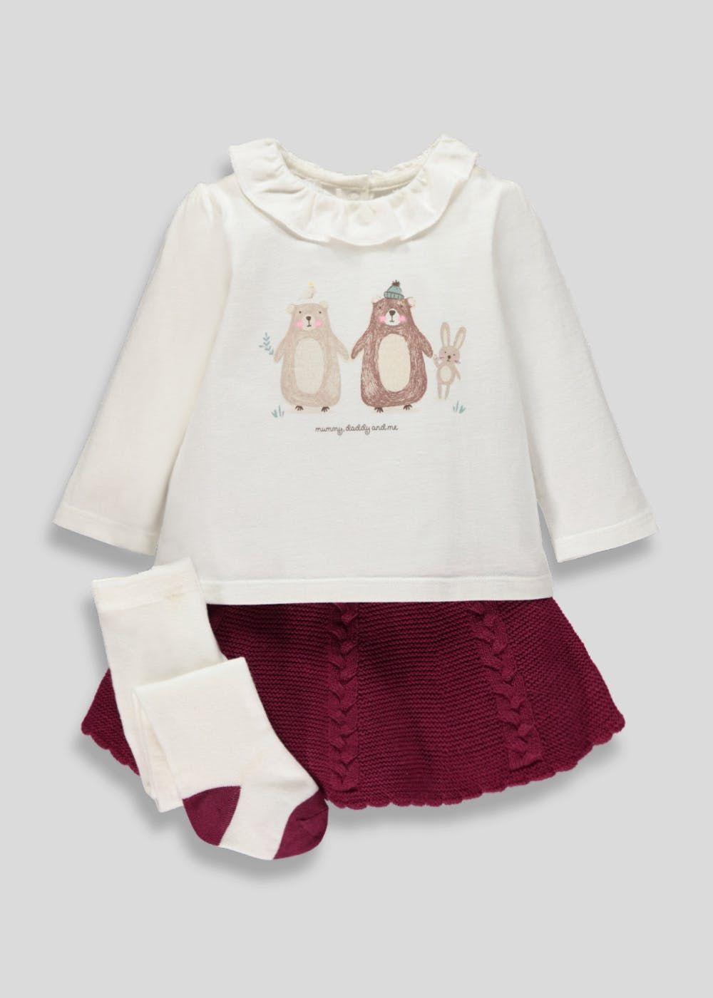 3770e82a13dcb Girls Top, Skirt & Tights Set (Newborn-18mths) – Cream | Bebe Sophie ...