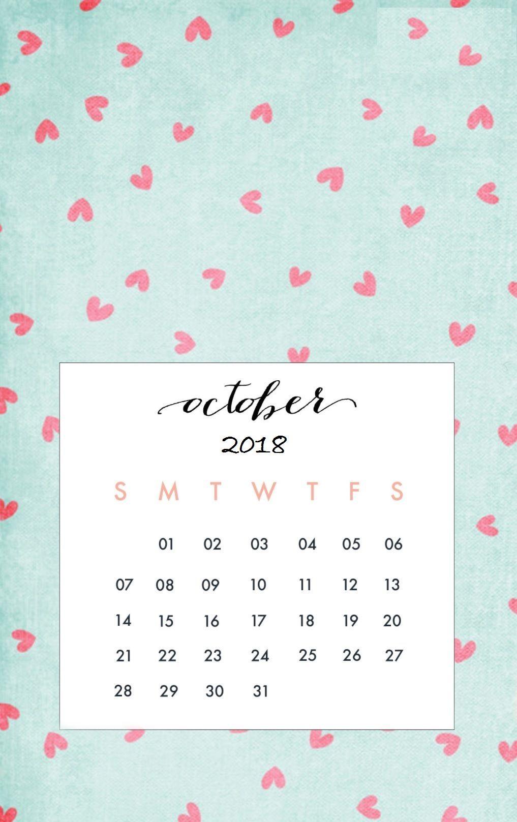 October 2018 Iphone Calendar Wallpaper Maxcalendars Calendar