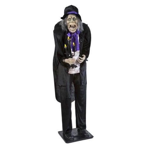 J Marcus HA-22757C 64-in Animated Butler with Candelabra Products - animated halloween decorations