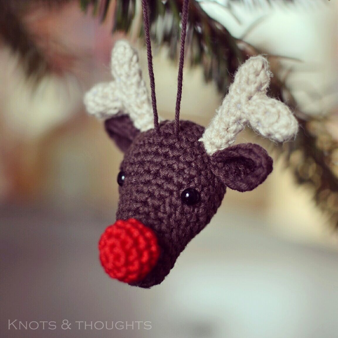Knots And Thoughts Rudolph The Reindeer Christmas Ornament Pattern Christmas Crochet Patterns Crochet Christmas Decorations Crochet Christmas Ornaments