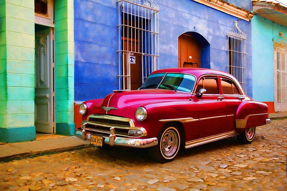 Red car in Trinidad, Cuba Cuban cars, Vintage cars cuba