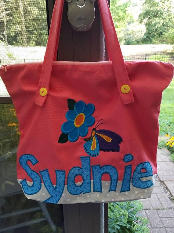small personalized kids tote bag zippered tote bag canvas tote bag