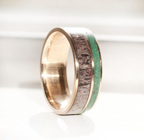 Gold Wedding Band Featuring Elk Antler And Jade Inlays