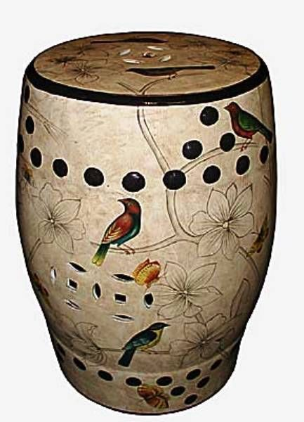 chinese stool birds butterfly and flower detail lamp stand plant stand table
