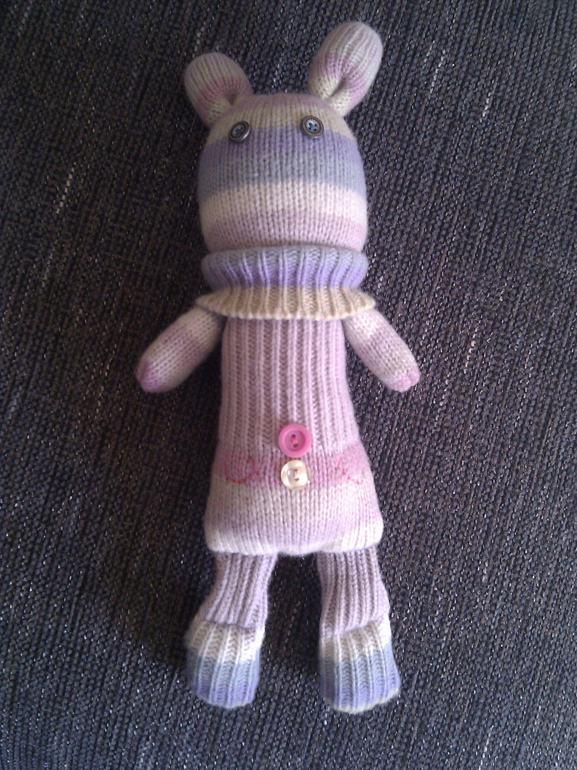 Upcycled mitten rabbit toy