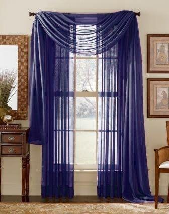 Royal Blue Elegance Sheer Scarf Valance 216 Long By Wpm 7 39