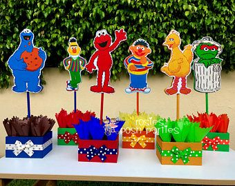 Sesame Street Birthday Centerpiece Decoration Elmo Cookie Monster Oscar Bernie Party Guest Table