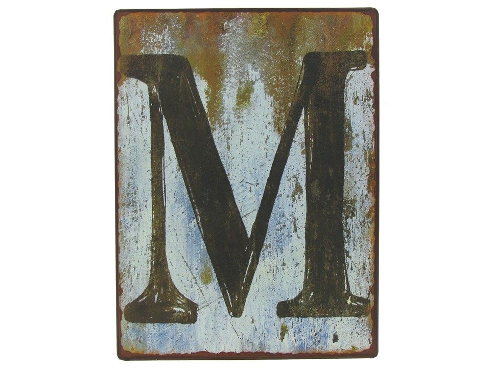 "Letter M Wall Decor 9 1/2"" rustic iron wall letter - m 