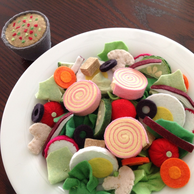 Felt salad play food pattern chefs salad set diy felt