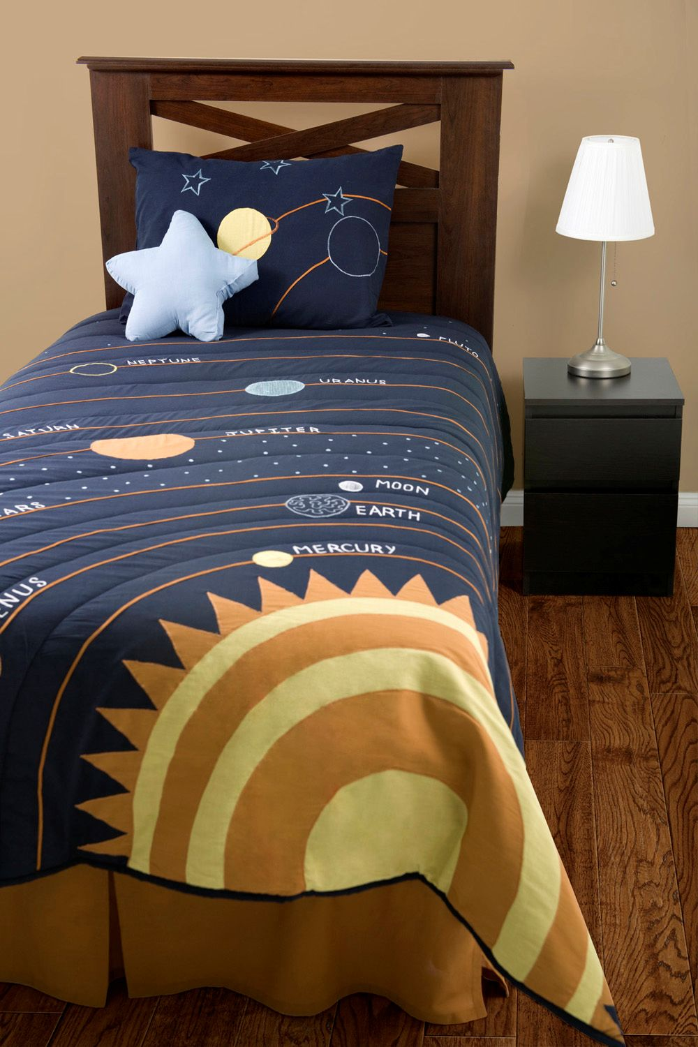 Solar System Bedding Outer Space 3pc Twin Comforter Set Navy Blue