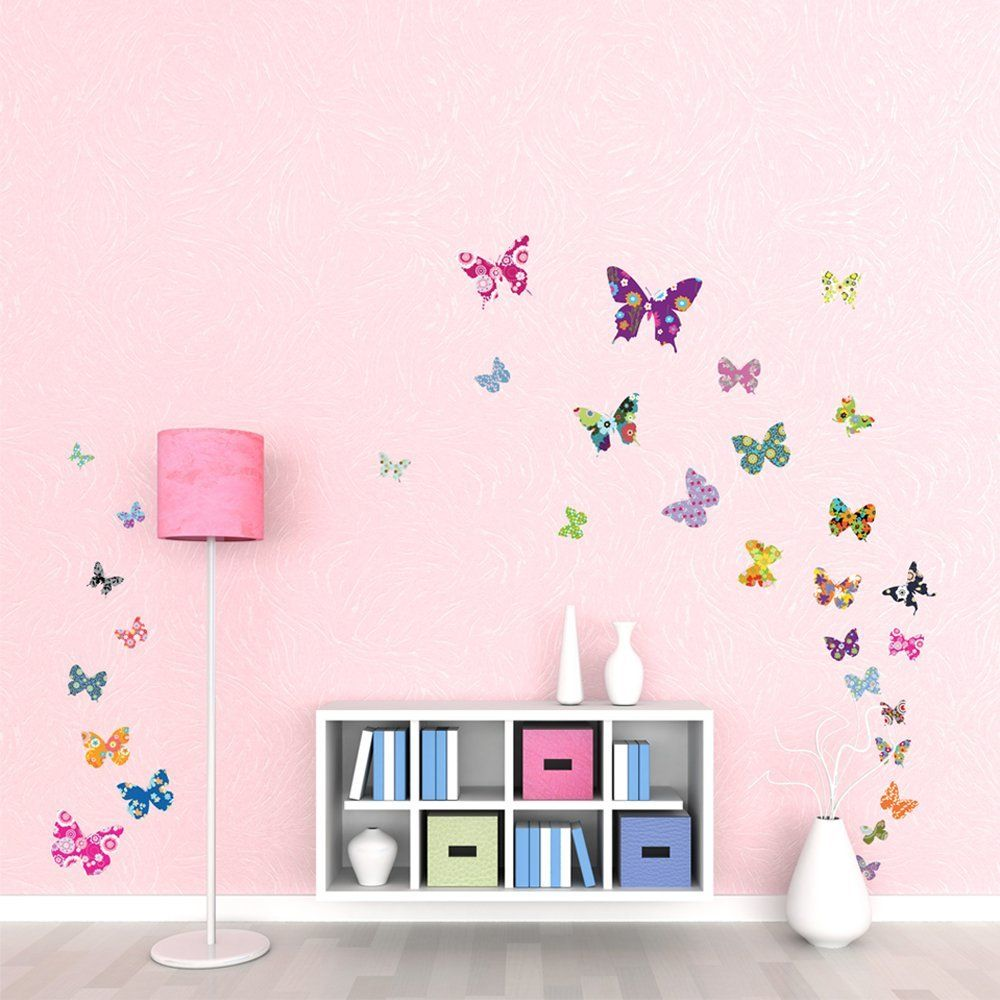 Bezaubernd Wandtattoo Kinderzimmer Mädchen Beste Wahl 38 Farbige Schmetterlinge Wandsticker Wandaufkleber