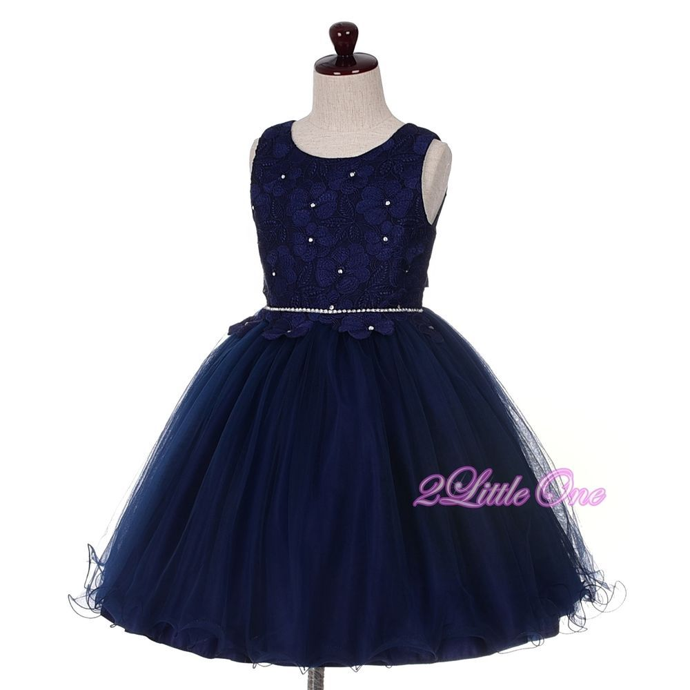 Dark blue wedding dress  Diamante Floral Motif Pageant Flower Girl Occasion Dress Dark Blue
