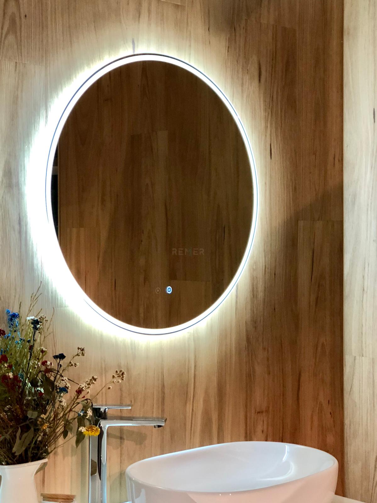 Backlit Mirror Remer Round A Mirror Circle Mirror Sphere Mirror Led Mirror Demister Pad Best Bathroom Colors Round Mirror Bathroom Beach Bathroom Decor