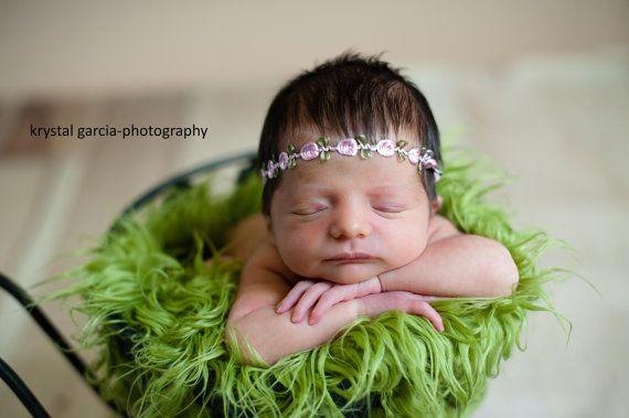 Newborn Lace Halo Headband with Pink Flower by PetuniaandIvy