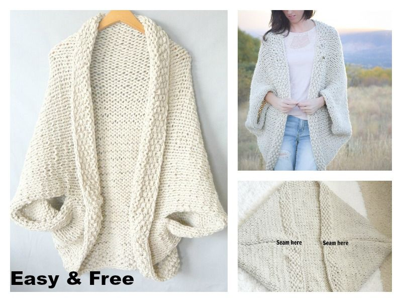 Easy Blanket Sweater Free Knitting Pattern #blanketsweater