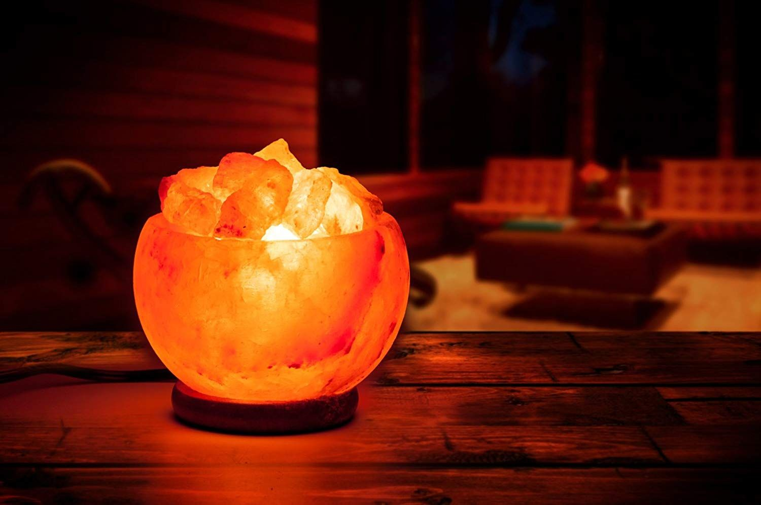 Hand Crafted Rock Salt Bowl Lamp Himalayan Chips Wood Base Electric wire /& Bulb