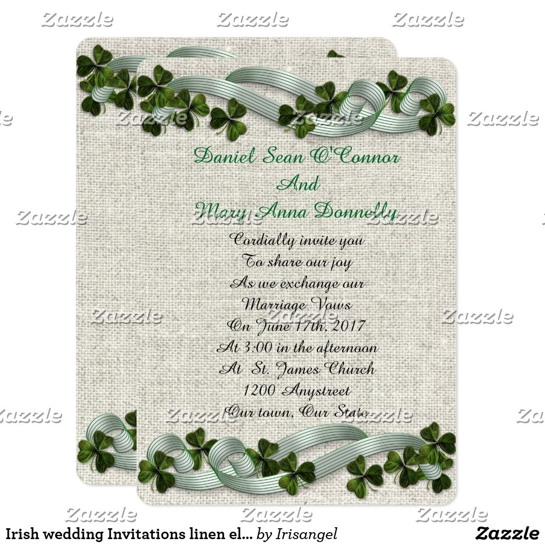 Unique Irish Themed Wedding Invitations Illustration - The Wedding ...