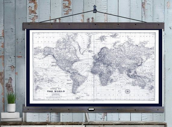 Custom for brittany vintage maps travel maps and antique maps travel map world map vintage map in blue and white on canvas 60 gumiabroncs Choice Image
