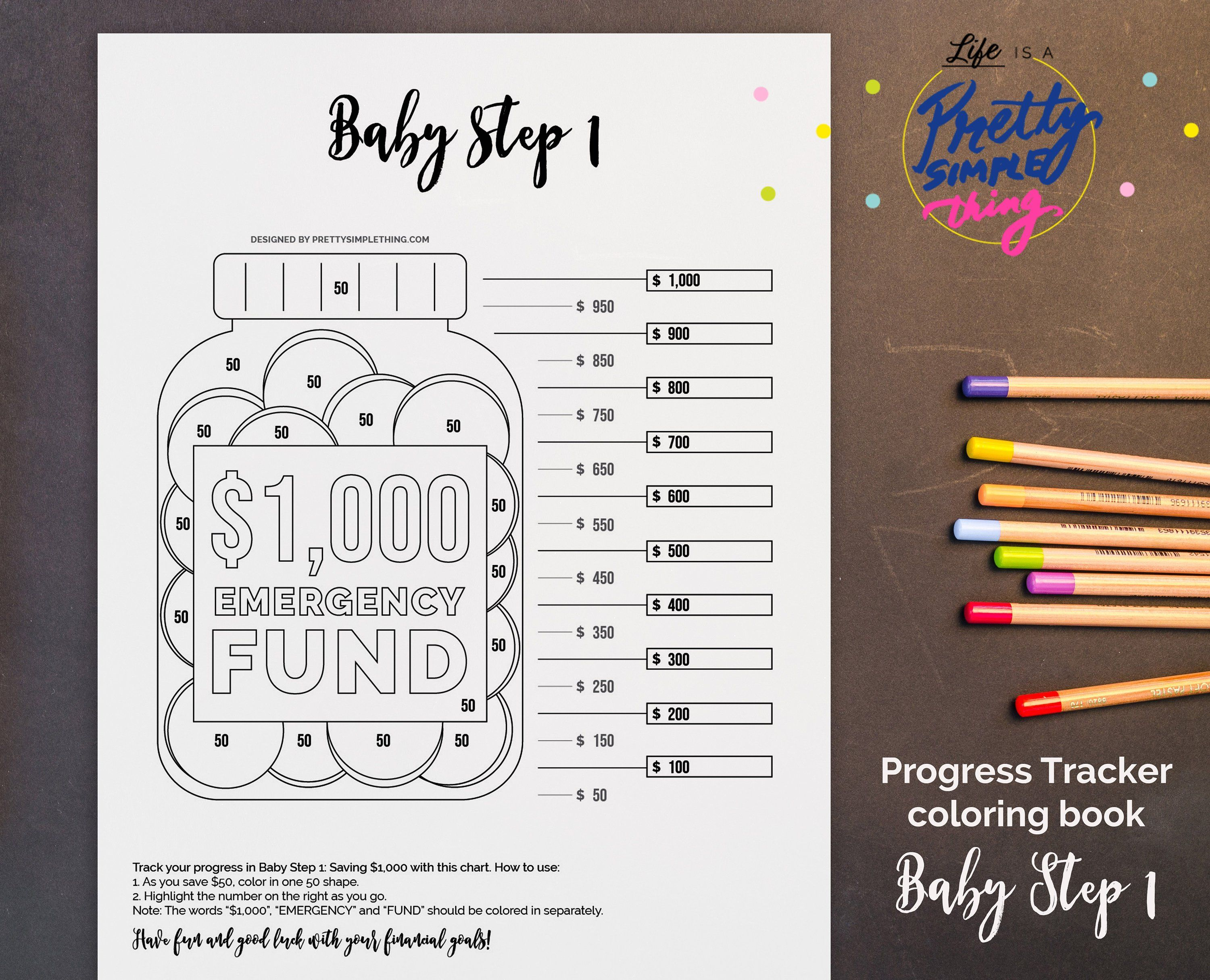 1000 Emergency Fund Baby Step 1 Progress Tracker Coloring Page