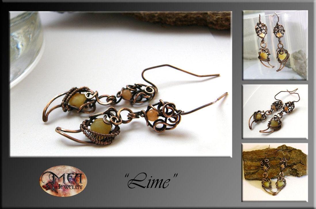 Lime- wire wrapped earrings by mea00 on deviantART | Jewlery ...