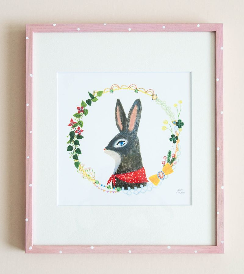 shopminikin - Aiko Fukawa Brown Rabbit in Polka Dot Frame, Large (http://www.shopminikin.com/aiko-fukawa-brown-rabbit-in-polka-dot-frame-large/)
