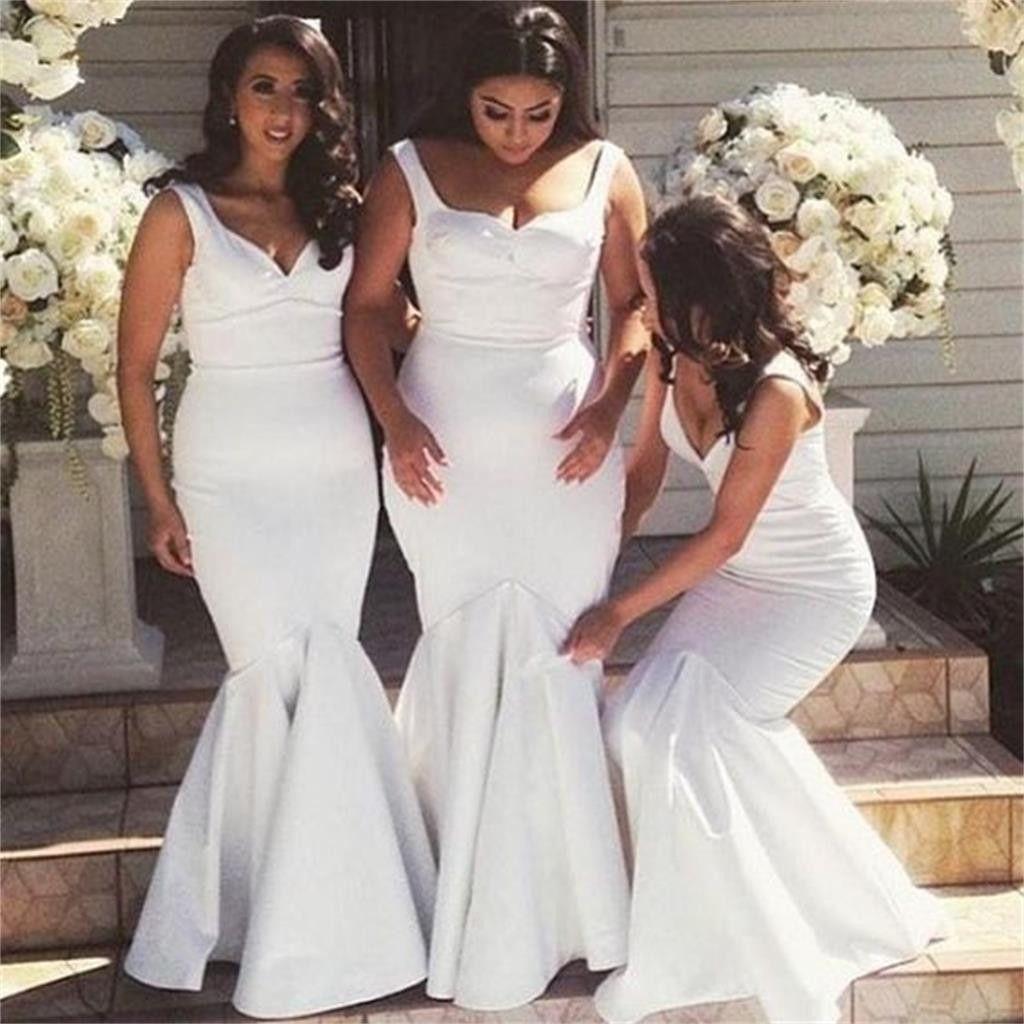 Plus size african wedding dresses  Long White Mermaid Plus size Simple Sexy Bridesmaid Dresses Wedding