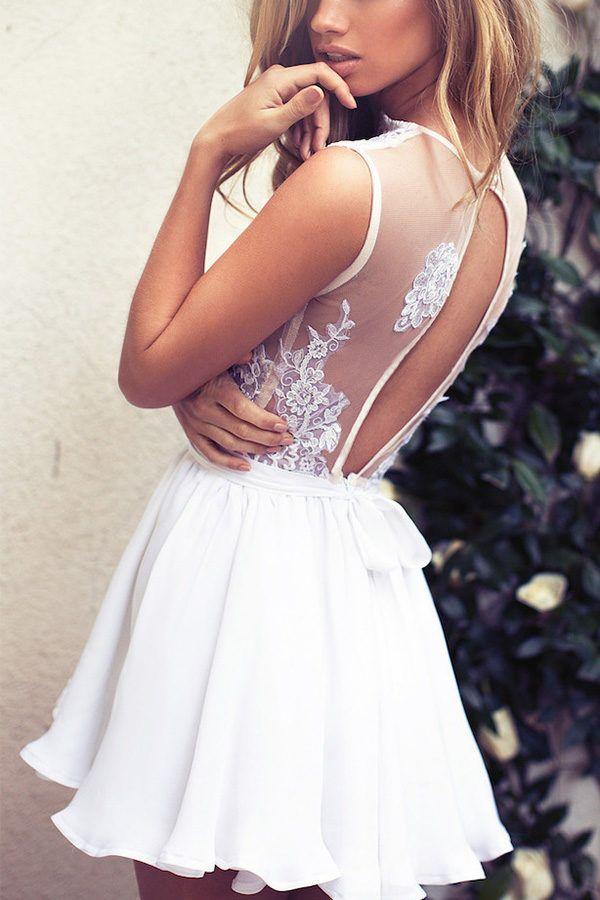 29ae96e62b4 Hualong Sexy Deep V Neck White Lace Skater Dress  bridesmaid   bridesmaiddresses  wedding  weddingdresses  dresses  sequindress  prom   party  eveningdresses ...