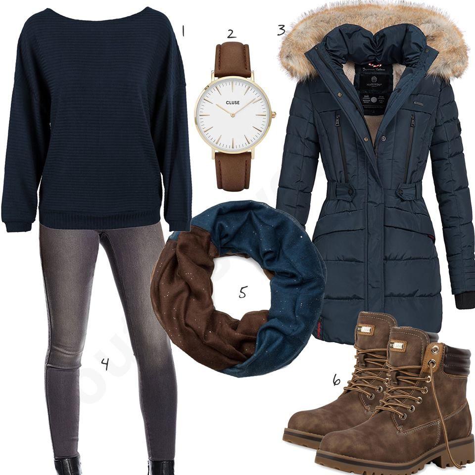 Blau Braunes Winteroutfit mit Pullover und Parka | Outfit