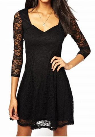 3/4 Sleeves Lace Dress