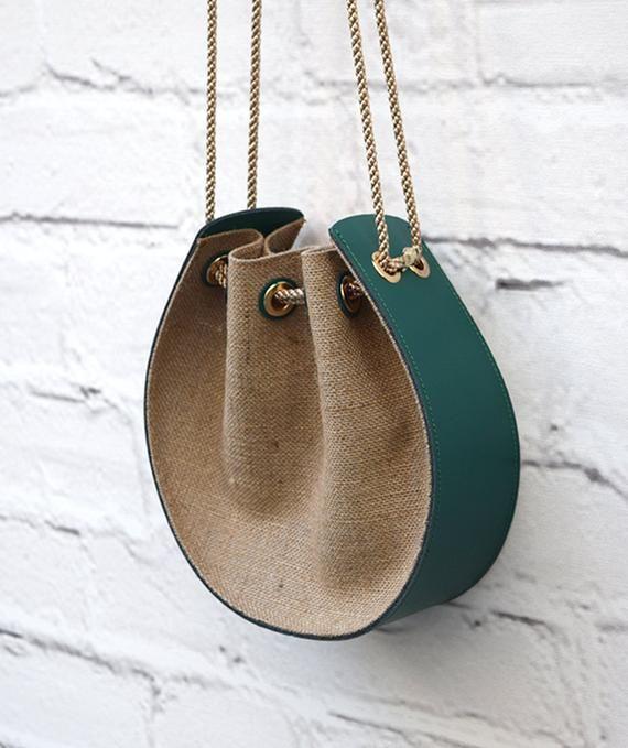 Green Leather Bag Handmade Handbag Messenger Bag Women Leather Bag Gift For Her Wedding Graduation Anniversary Evening Clutch Winter Trend #bag