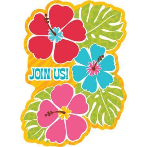 Bright Hibiscus Invitations 20ct Luau Invitations Luau Theme