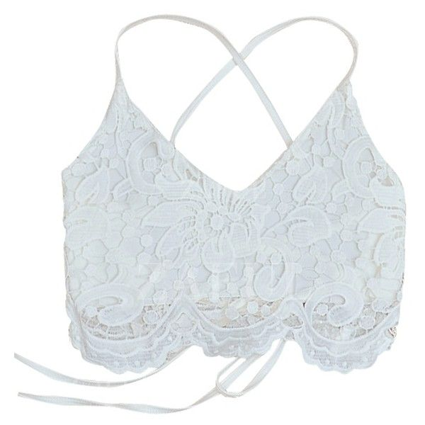 White Lace Spaghetti Straps Crop Top (18 AUD) ❤ liked on Polyvore featuring tops, white crop top, crop top and white tops