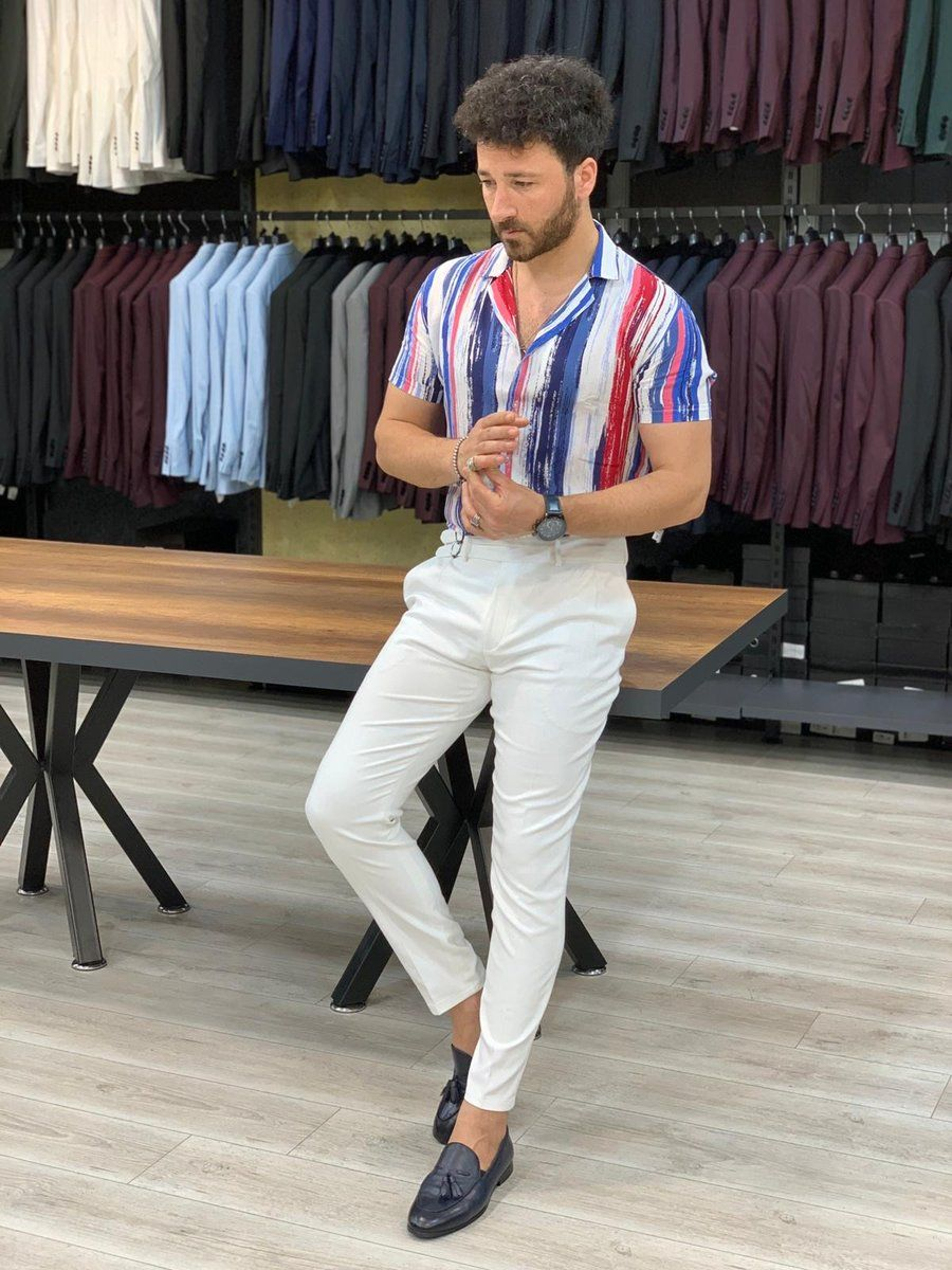Lendfield White Classic Slim Pants Spring Outfits Men Mens Casual Outfits Summer Mens Summer Outfits [ 1200 x 900 Pixel ]