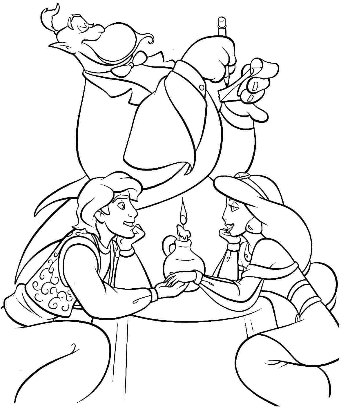 free printable disney princess aladdin colouring pages for little