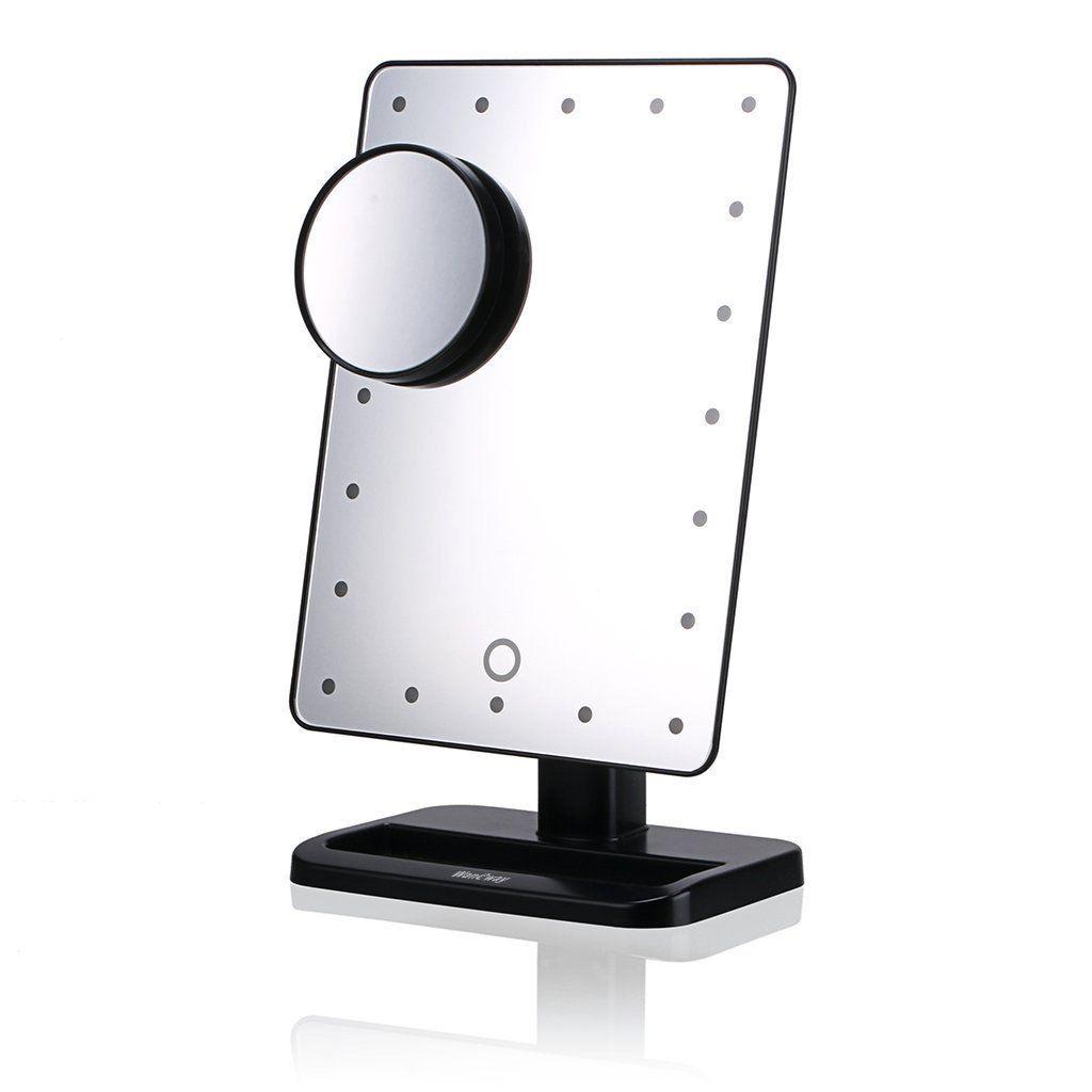 Waneway Kosmetikspiegel Mit Beleuchtung 20 Leds Dimmbar Durch Touch Schalter 10 X Vergrosserung 12 Mit Bildern Beleuchteter Spiegel Schminkspiegel Schminktisch Spiegel