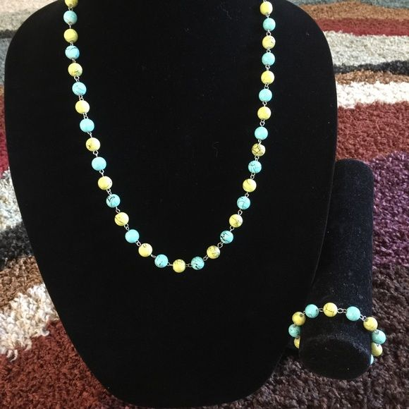 Necklace and Bracelet Set Beautiful single blue and green with silver findings set. Hand made! Basic Sophistication Jewelry Necklaces
