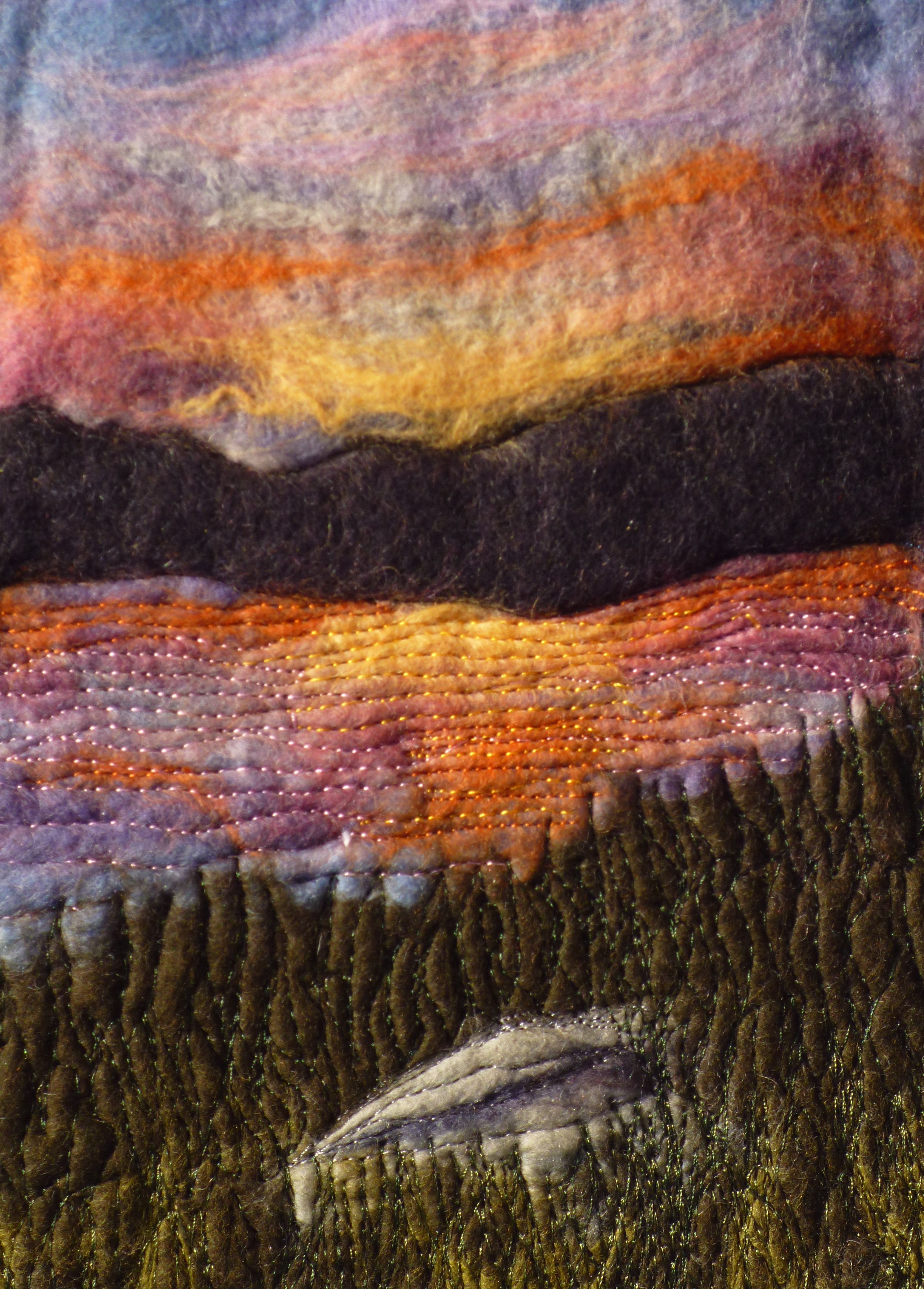 """""""Sunset over St Ninians"""" by Cathie Palmer wet felt painting"""
