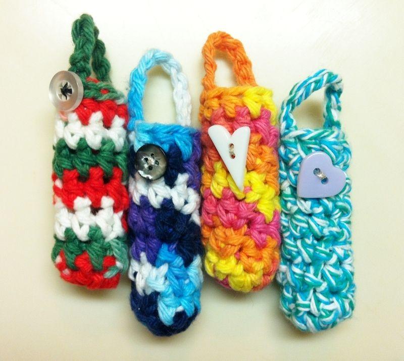 Chapstick Cozy Crochet storage, Crochet pouch, Crochet cozy