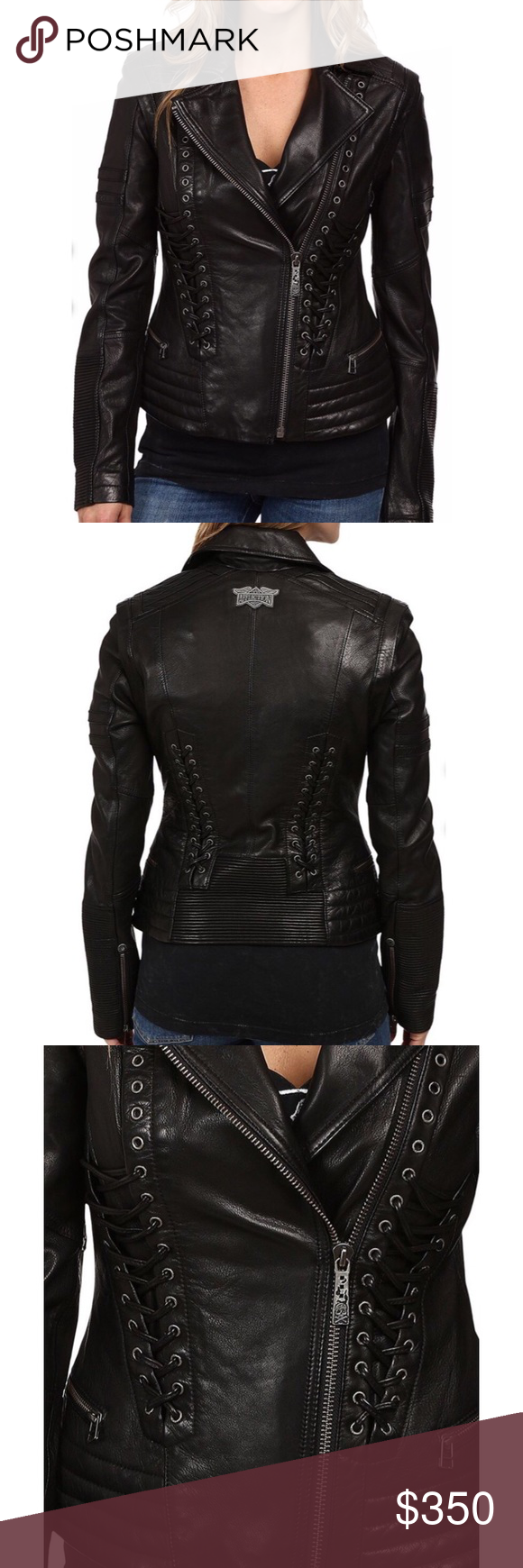 NWT Affliction Leather Moto Lace Up Biker Jacket NWT (With