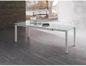Vetro Tavolo ~ Metropolis tavolo rettangolare in acciaio e vetro tavolo con