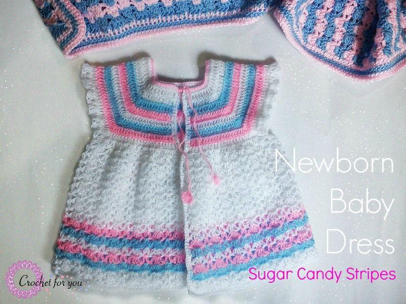 Vestido de ganchillo bebé recién nacido - patrón libre | Vestiditos ...