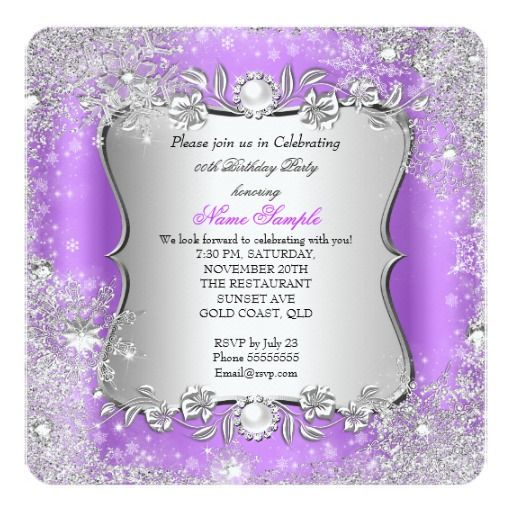 Winter Wonderland Purple Silver Snowflake Party Personalized Invites