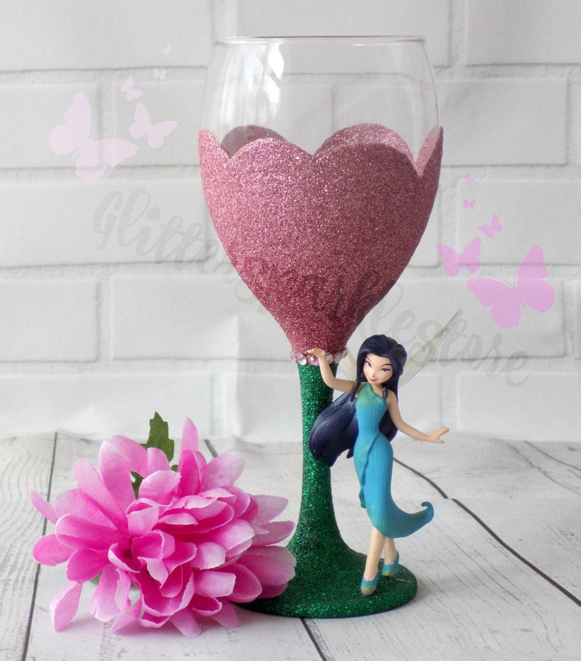 Disney Fairy Glitter Wine Glasses, Fairy Birthday Gift
