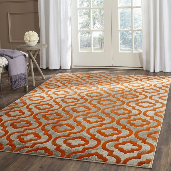 Attractive Safavieh Porcello Light Grey/ Orange Rug (10u0027 X 14u0027) | Overstock