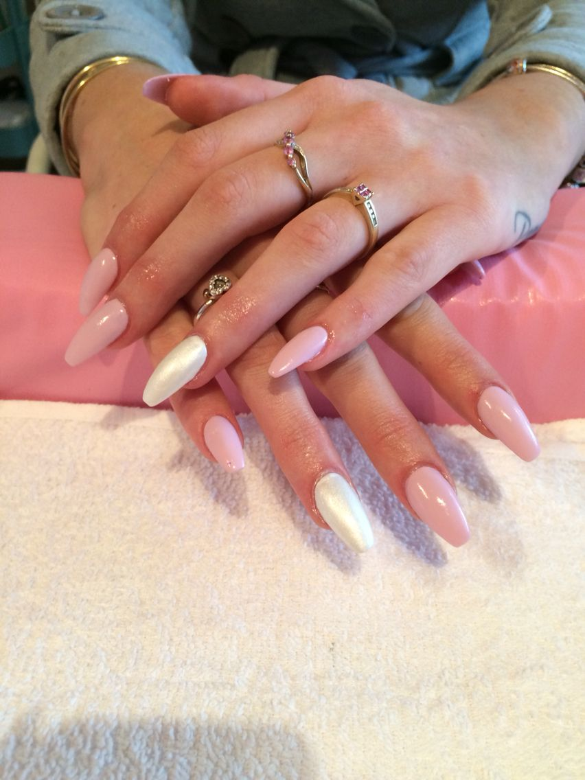 Acrylic nails with shellac in cake pop, studio white, and titanium ...